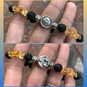 Oil diffuser lava rock citrine moon sun bracelet
